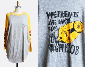Vintage 80s Michelob Raglan Jersey Tee Shirt TShirt, m l