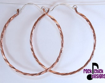 Twisted copper hoop earrings, dainty, large 2 inch diameter, with tiny flowers, silver ear wires -- salvaged copper wire