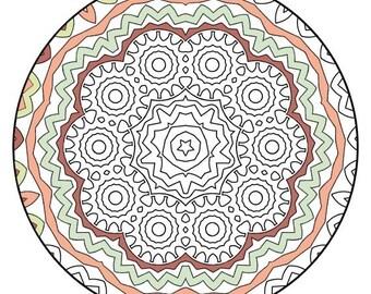 Mandala Coloring Pages - The Galiano - Mandala Coloring Page Printable, Adult Coloring, Digital Coloring, Mandala Art
