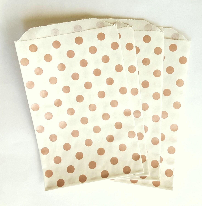 25 Metallic Rose Gold Polk Dot Paper Bags 5 x 7.5