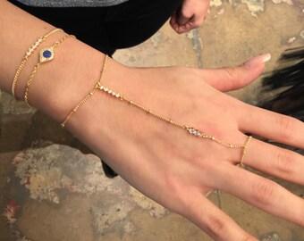 Dainty Gold Hand Chain Bracelet