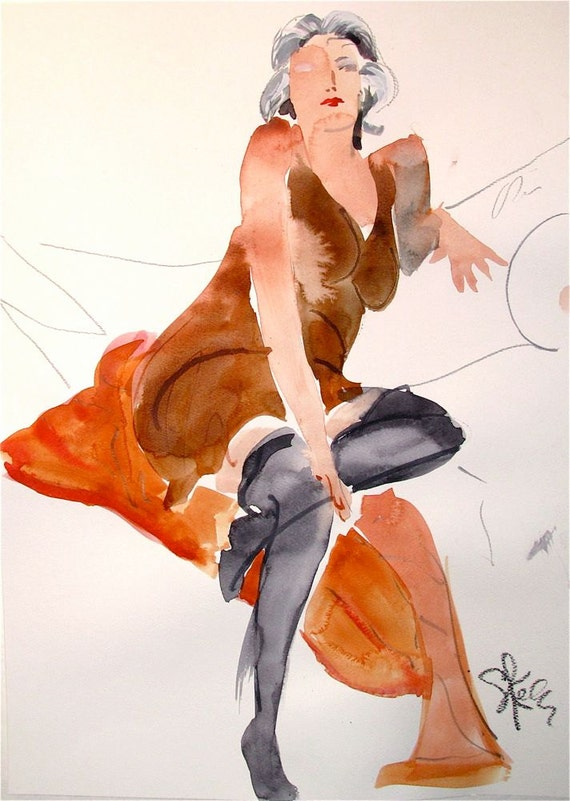 Boudoir Session 6.8 original watercolor nude painting by Gretchen Kelly