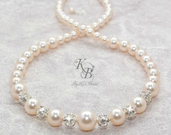 Bridal Necklace Wedding Necklace Swarovski Pearl Necklace Pearl and Rhinestone Necklace Bridal Jewelry Wedding Jewelry FREE Gift Box