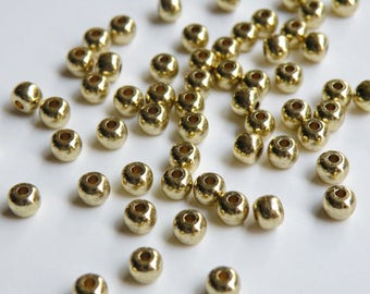 18 Solid Brass round spacer beads 4.5mm 2587MB
