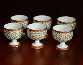 Miniature Porcelain Goblets with Gold Accents