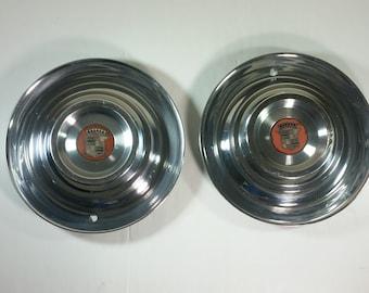 "1954 55 Cadillac de Ville Series 62 Fleetwood 15"" OEM Wheel Cover Hubcaps Two"