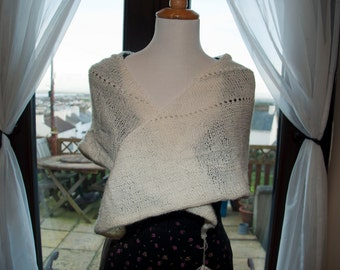 Handknitted Shawl/Shawlette in Glittery Cream