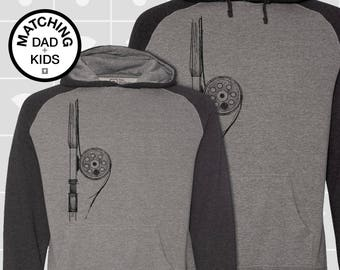 SALE! Matching Dad & Son Fly Rod Hoodies | Father Son Matching Shirts | Dad Daughter Matching Shirts | Fishing Gift for Dad | Daddy and Me