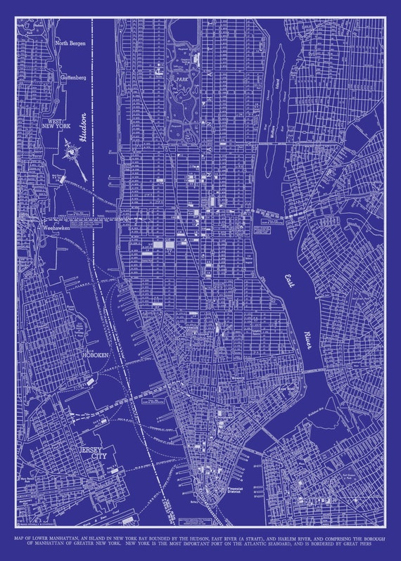 1944 New York city Manhattan Street Map Vintage Blueprint