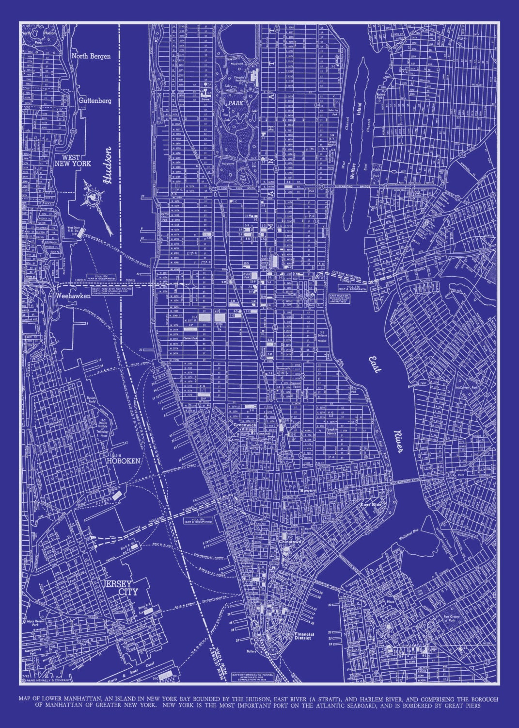 1944 new york city manhattan street map vintage blueprint zoom malvernweather Gallery