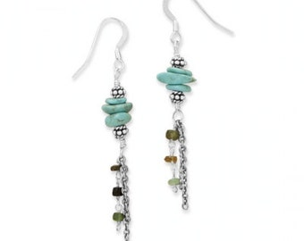 Oxidized Sterling Silver Multistrand Tourmaline Turquoise Gemstone Dangle Drop Earrings