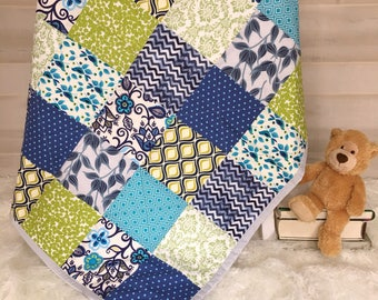 Baby Boy Quilt - Baby Quilt - Baby Shower Gift - Modern Baby Quilt - Unique Baby Gift - Newborn Baby Blanket - Personalized Baby Quilt