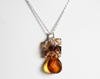 Preciosa crystal cluster pendant with topaz and espresso crystals on silver filled chain