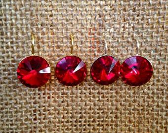 January Birthstone Jewelry, Swarovski Siam Drop Earrings, Ruby Red Swarovski Earrings, Garnet Crystal Earrings, Valentine's Day Jewelry