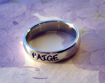 """Personalized Ring, Engraved Ring, Personalized/Engraved Ring """" Wedding Band Style"""", name Ring, Class Ring WBSS01"""