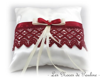Burgundy and ivory bow lace satin ring pillow