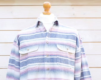 Vintage Western Striped Shirt Size - Large