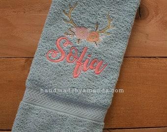 Deer Antlers with Flowers  + Monogram Name Hand Towel - Shabby Chic Floral Antlers Towel - Antler Monogram towel
