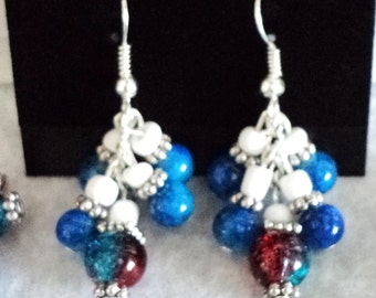Fourth of July Earrings, Firework Earrings, Red White and Blue Earrings, Holiday Earrings,  Patriotic Earrings - 4TH OF JULY