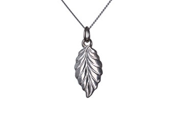 Sterling Silver Dainty Leaf Pendant Necklace Nature Jewellery Handmade Free delivery