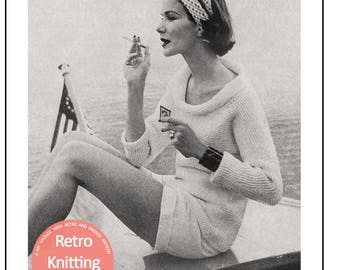 1950s Roll Neck Sweater Knitting Pattern - PDF Instant Download