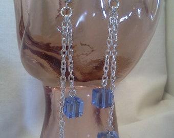 Blue Cube Dangle Earrings