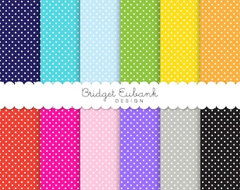 "Party Polka Dots Digital Paper - 12 Digital Scrapbook Papers - 12"" x 12"" 300 dpi JPEG Files - Personal & Commercial Use, Instant Download"