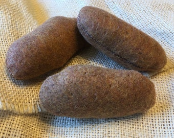 Felt Food Play Food Potato Set of 3 Russet Potatoes Pretend Food