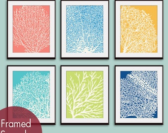 Underwater Sea Coral Collection (Series D) Set of 6 - Art Prints - Featured in Assorted Colors