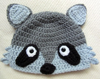 Crochet Raccoon Hat, raccoon hat, crochet hats for kids, boy toddler, toddler gift, woodland animals, baby gifts for boys, racoon hat