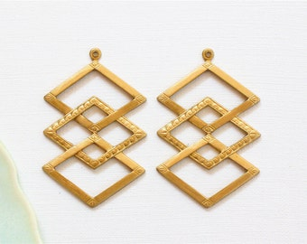 6 Diamond CHEVRON shaped jewelry pendants or earring drops . 24mm x 37mm (ST62). Please read description