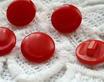 set of 5 buttons red 15 mm pad