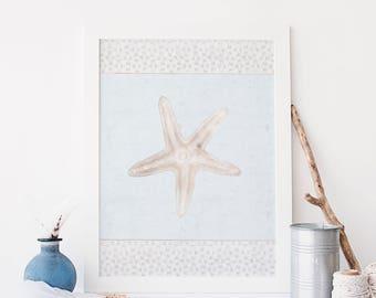 Beach Cottage Decor, Starfish Art Print, Watercolor Starfish, DIGITAL DOWNLOAD, Coastal Wall Prints, Star Fish Art Poster, Beach Wedding