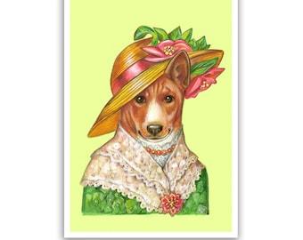 Basenji Art Print - Lady Summer - Dog Art Gifts, Wall Decoration - Pet Portraits by Maria Pishvanova