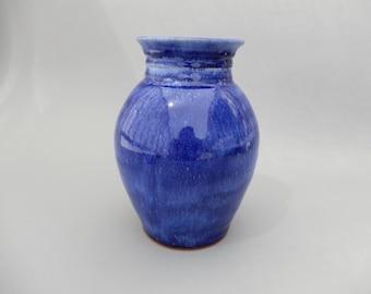 Blue Ceramic Vase - Royal Blue Glazed Terracotta- Pottery Flower Vase - Free Shipping