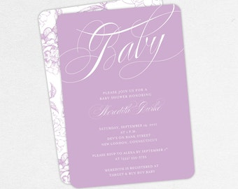 Baby Shower Invitation, Girl Baby Shower, Neutral Baby Shower, Printable Invitation, PDF Invitation, Floral, Simple, Purple, jpeg, Meredith