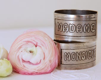 French silver plate napkin rings Monsieur and Madame