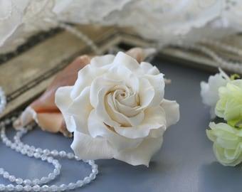 Ivory White rose Bridal Hair flower Bridal Hair accessories Wedding Hair flower Bridal hair clip Rose hair Wedding hair accessories
