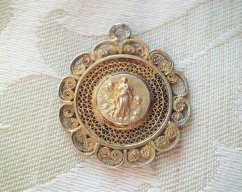 Antique Old Vintage 800 Silver Filigree Immaculate Conception Virgin Mary Religious Medal or Pendant
