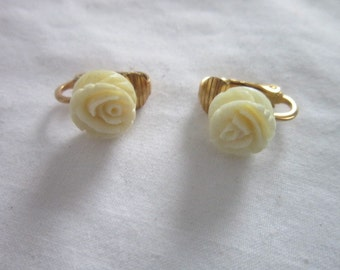 Vintage Carved Roses Petite Clip on Earrings