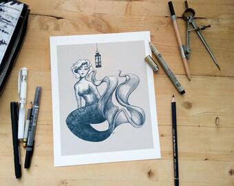 Vintage Mermaid - whimsical Mermaid and lantern illustration