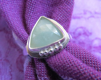 Celadon Green Sapphire Rose Cut Triangle in Granulated Sterling Ring Size 8 & a Quarter
