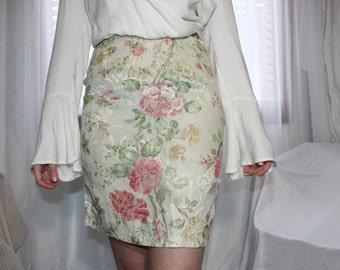 Iridescent Rose Floral Print Pencil Skirt