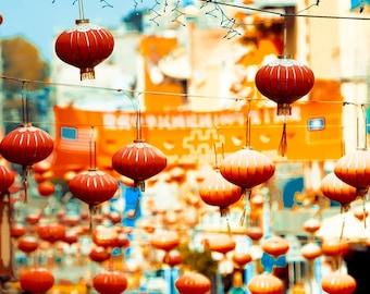 Travel Gift, Chinese Lanterns, San Francisco Art, Orange, Blue, San Francisco Print, Chinatown