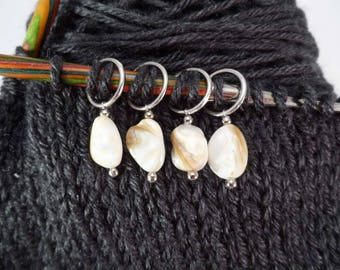Natural Polished Shell Stitch Markers set of 4