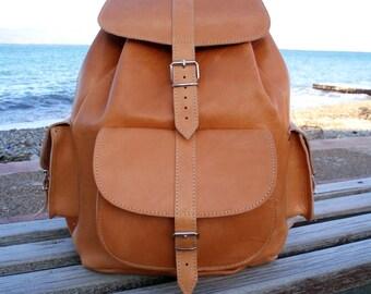 Extra Large Leather Backpack - Handmade shoulder bag, Womens backpack, Mens backpack, Leather Rucksack, Natural Color, travel backpack