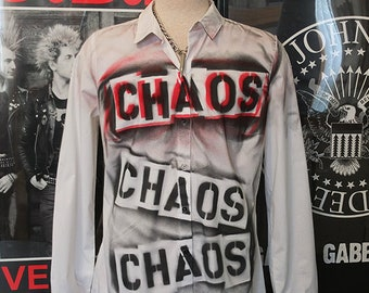 Punk Men's Shirt Button Up Long Sleeve Seditionaries Top 77 Sex Pistols The Clash Chaos Red Black Punk Rock Dress Shirt