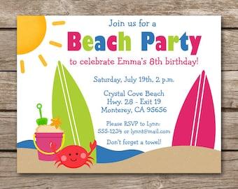 Beach Party Invitation, Beach Birthday Invitation, Beach Invitation, Beach Thank You Card, Beach Invite, Surfboard Invitation, PRINTABLE