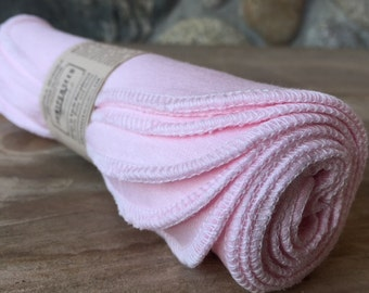 Pastel Pink Ecofriendly Organic BAMBOO Alternative to Facial Tissues - Full Size 8 by 10 Cloths With BONUS Mesh Laundry Bag