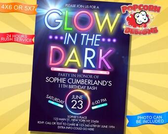 Glow, in the Dark, Invitation, Digital, Design, Invitations, Invite, Card, Printable, Birthday, Party, Decoration, Editable, Glowing